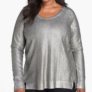Sejour Mirah Foiled Navy Silver Sweater Tunic NWT